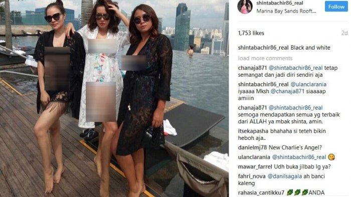 Shinta Bachir pamer foto seksi saat berlibur ke Singapura. (instagram)