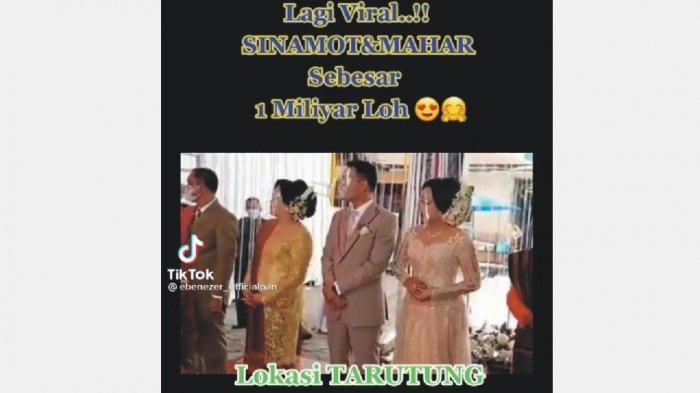 SINAMOT 1 MILIAR - Cuplikan gambar video viral pasangan pengantin dengan label sinamot 1 miliar di Gedung Serbaguna, Kecamatan Tarutung, Tapanuli Utara. (Tribun-medan.com/IST/TikTok)