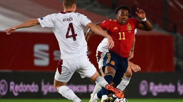 Penyerang Wolverhampton Wanderers, Adama Traore, resmi membela timnas Spanyol setelah ia tampil pada laga UEFA Nations League kontra Swiss, Minggu (11/10/2020) dini hari WIB.