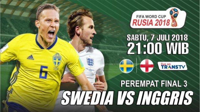 PREDIKSI: INGGRIS vs SWEDIA, Saksikan Laga Sengit Malam Ini Pukul 21.00 WIB (Live Trans TV)
