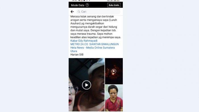 LURAH di Siantar Mengaku Dipukuli Oknum Prajurit TNI-AD di Laman Facebook