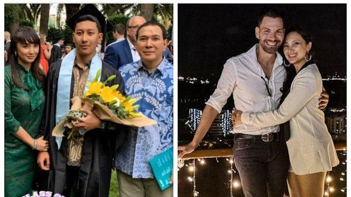 Potret wisuda anak Tata Cahaya dengan Tommy Soeharto (kiri) dan Potret mesra Tata Cahyani dengan Bobby Tonelli (kanan).