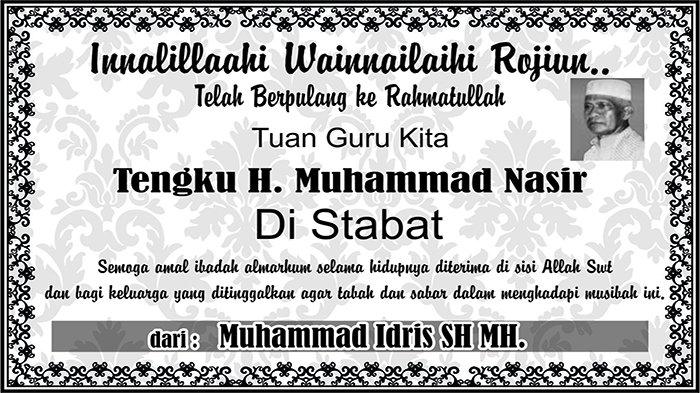 BERITA DUKACITA: Telah Berpulang ke Rahmatullah Tengku H. Muhammad Nasir