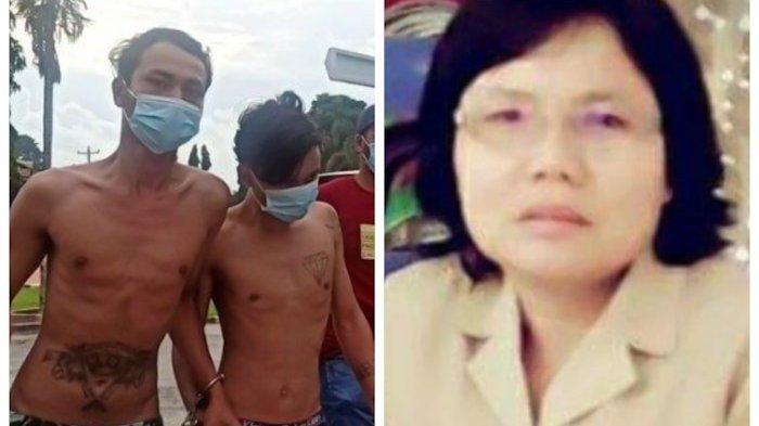Dua dari tiga pelaku pembunuh guru SD Martha Butarbutar di Toba ditembak polisi di kedua kakinya di Kota Medan, Kamis (27/5/2021). Kedua tersangka bernama Ricky dan Davidson. (foto korban kanan).(TRIBUN MEDAN/MAURITS)