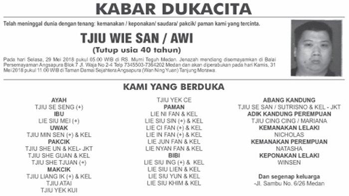 BERITA DUKACITA: Telah Meninggal dengan Tenang Tjiu Wie San