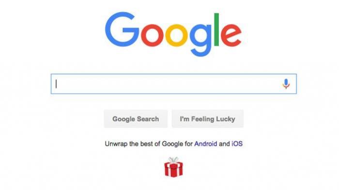 Pesan singkat berisi dua tautan di laman muka Google.com