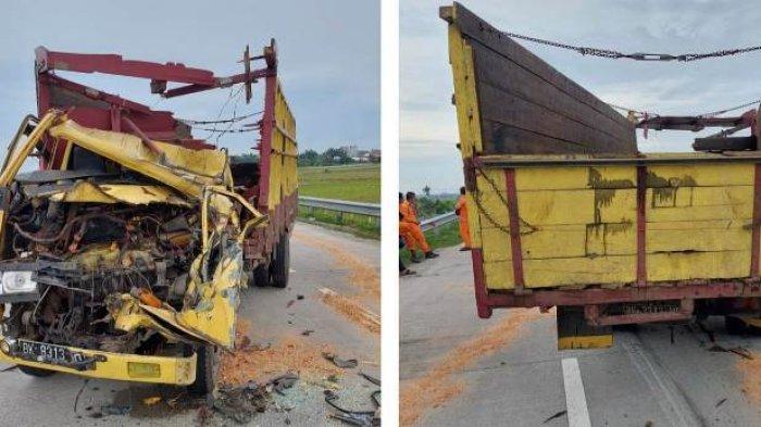 Truk Colt Diesel Remuk di Jalan Tol Medan-Tebingtinggi, Satu Orang Tewas