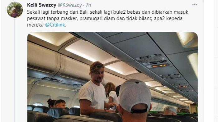 VIRAL Foto Bule Bebas Tak Bermasker di Pesawat hingga Citilink Beri Klarifikasi