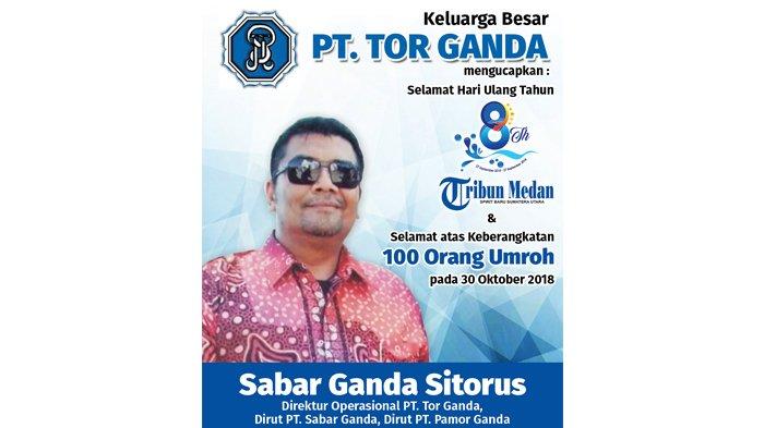 Ucapan Selamat HUT ke-8 Tribun Medan dari Keluarga Besar PT TOR GANDA