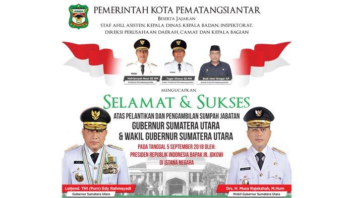 Pemko Pematangsiantar Mengucapkan Selamat atas Pelantikan Gubernur dan Wakil Gubernur Sumatera Utara