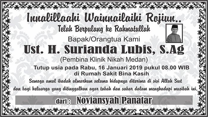 BERITA DUKACITA: Telah Berpulang ke Rahmatullah Ust. H. Surianda Lubis, S.Ag