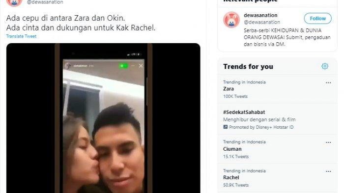 Video seorang perempuan yang diduga Zara sedang mencium Okin tersebar di dunia maya