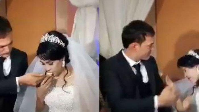 Viral, Detik-detik Pengantin Pria Tampar Pipi Istrinya saat Disuap, Pesta Pernikahan Jadi Tontonan