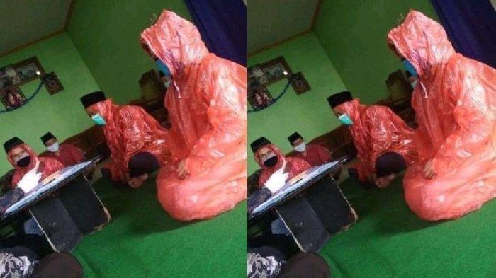 Viral Kisah Pengantin Kenakan Jas Hujan dan Masker saat Akad Nikah, Mempelai Pria Ternyata ODP