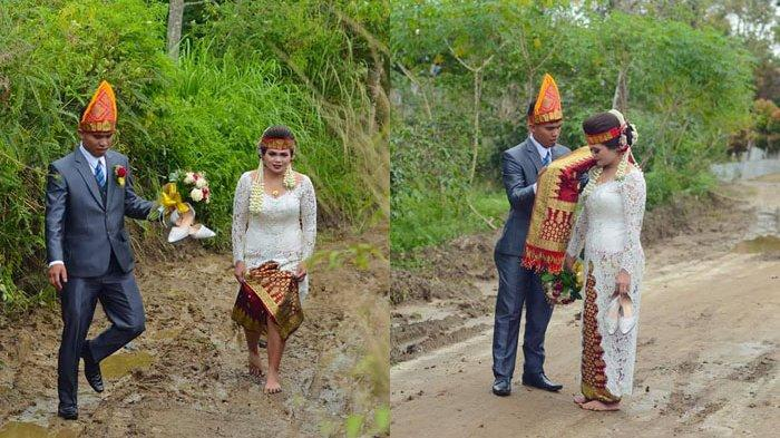 Kisah Cinta Pasangan Pengantin di Simalungun, Rela Berlumpur-lumpur di Hari Pemberkatan Pernikahan