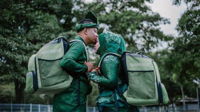 Viral, Pose Pernikahan Unik dan Lucu, Foto Nuansa GrabFood Jadi Sorotan Netizen di Facebook