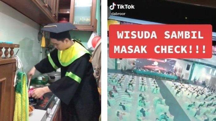 Viral Video Mahasiswa Masak Nasi Goreng saat Wisuda Online, Aksi Kocaknya Bikin Terhibur
