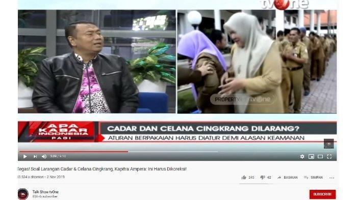 Wacana Larangan Cadar dan Celana Cingkrang, Kapitra Ampera Sasar Menteri Agama: Anda Siapa?