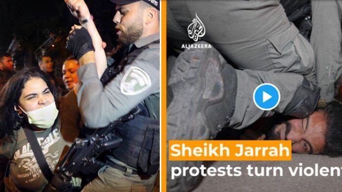 VIRAL FOTO WARGA PALESTINA DIAMANKAN: Kerusuhan yang pecah di Masjid Al Aqsa, Jumat (7/5/2021) malam merupakan buntut dari sengketa tanah yang terjadi di pemukiman warga Palestina di Sheikh Jarrah, Yerusalem Timur. Melansir DW, Sabtu (8/5/2021) Israel mencoba menggusur warga Palestina yang tinggal di kawasan tersebut, untuk pembangunan pemukiman baru bagi warga Israel.