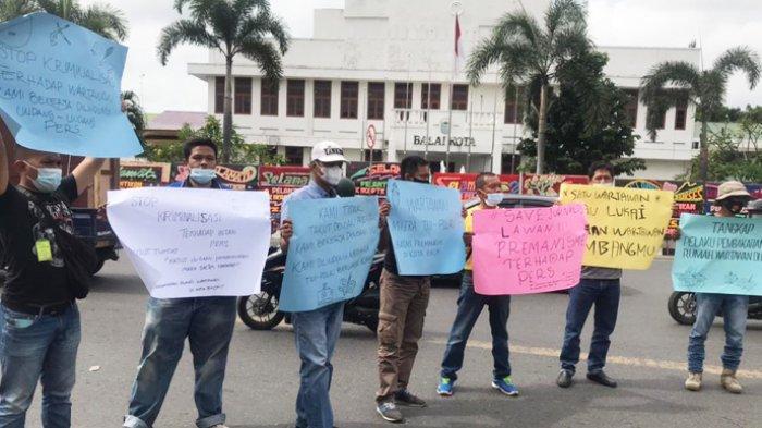 Jurnalis Binjai Unjuk Rasa di Depan Balai Kota, Tuntut Polisi Tangkap Pelaku Kekerasan