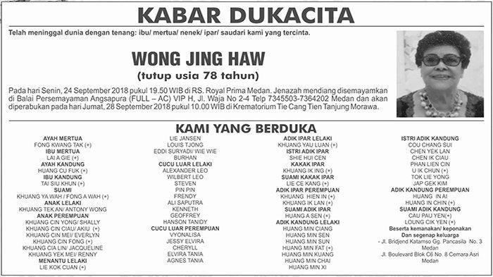 BERITA DUKACITA: Telah Meninggal dengan Tenang Wong Jing Haw
