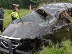 Toyota Avanza Terguling di Jalan Tol Medan-Tebingtinggi, Satu Keluarga Asal Air Joman Tewas