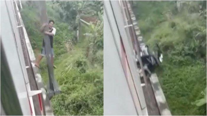 Sebuah rekaman video memperlihatkan aksi nekat seorang pria di Bogor sedang bergelantungan di tiang pinggir jembatan jalur kereta api (KA).