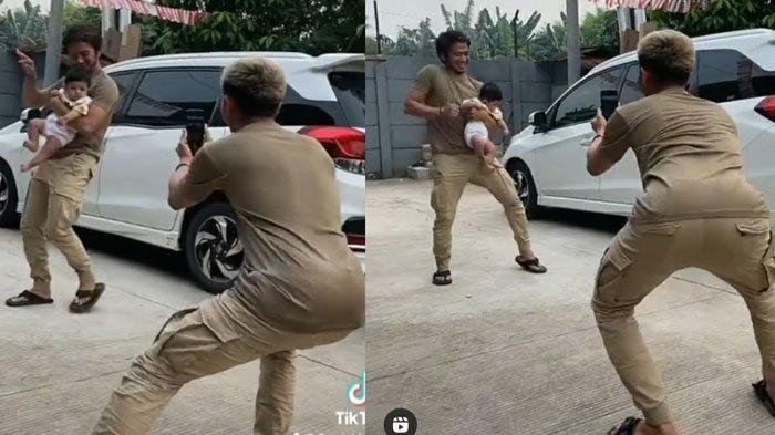 Aksi Rizki DA joget TikTok sambil gendong anak