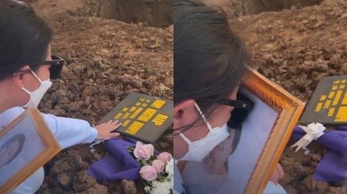 Amanda Manopo menangis di depan makam sang ibunda tercinta
