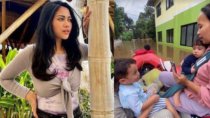 Liburan, Rachel Vennya Panik Anaknya Ngungsi karena Banjir, Ini Momen saat Xabiru Naik Perahu Karet