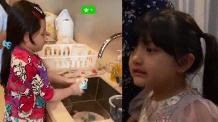 Arsy Hermansyah mencuci piringnya sendiri setelah makan.