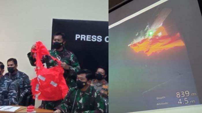 Baju keselamatan awak MK-11 kapal KRI Nanggala-402 dan potret saat diangkat dari kedalaman laut.