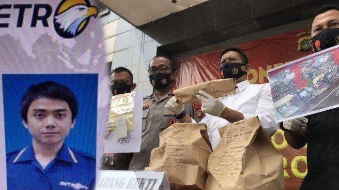 Polisi menunjukkan barang bukti kasus tewasnya Editor Metro TV Yodi Prabowo di Mapolda Metro Jaya, Jakarta, Sabtu (25/7/2020) pagi.