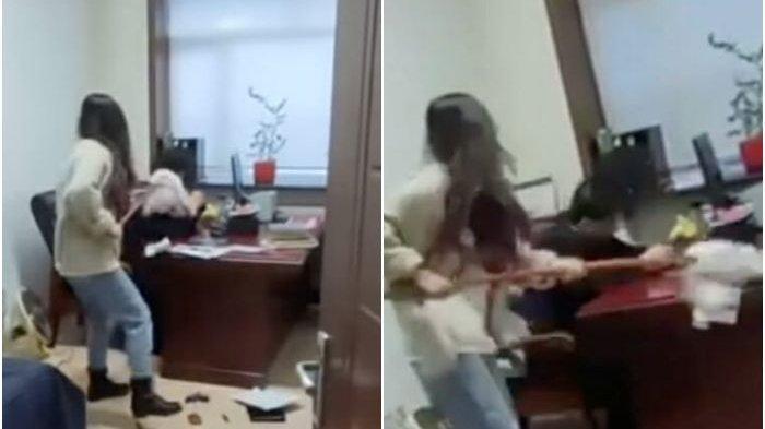 NGAMUK Bawahan Tiba-tiba Pukul Pejabat Pakai Pel Basah, Terkuak Penyebabnya, Sang Bos Kini Dipecat