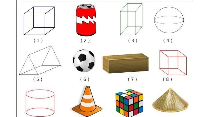 SOAL & KUNCI JAWABAN Latihan UAS dan PAS Matematika Kelas 1 SD, Bentuk-bentuk dari Gambar Berikut