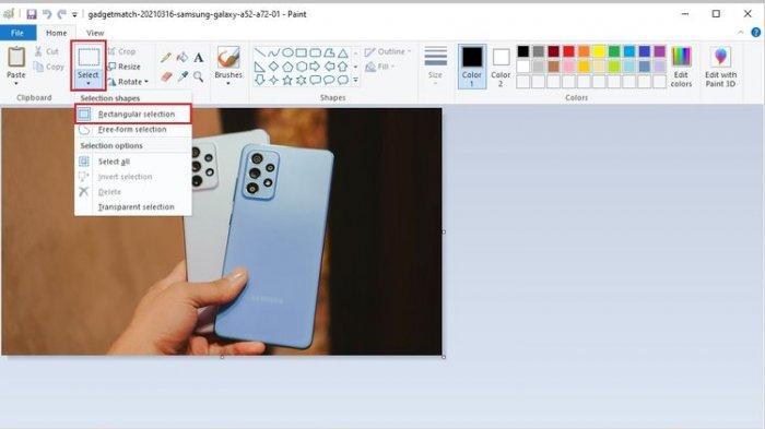 Cara crop foto atau gambar di Microsoft Paint.