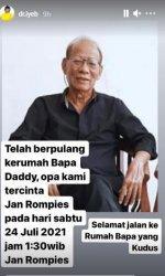 Cliff Rompies berduka atas meninggalnya sang ayah