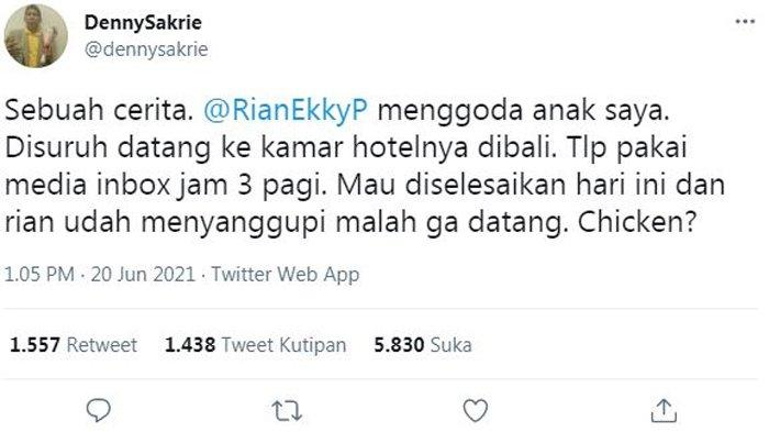 Cuitan di akun Twitter Denny Sakrie tuding Rian DMasiv lakukan pelecehan seksual