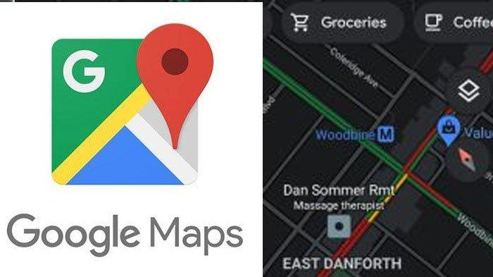 Google Maps versi dark mode.
