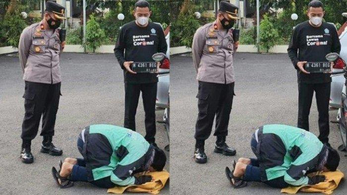 Driver Ojol di Semarang Tiba-tiba Sujud Syukur Depan Motor dan Polisi, Ternyata Ini yang Terjadi!