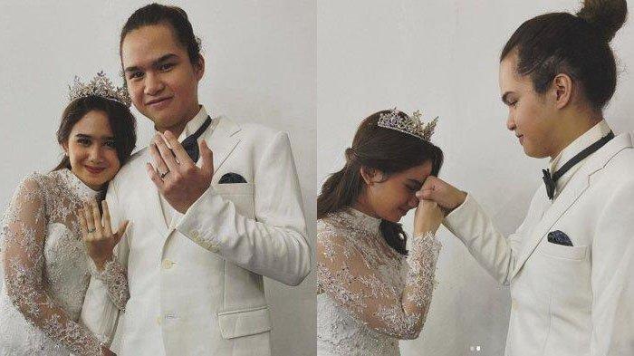 Dul Jaelani dan Tissa Biani tampak memamerkan cincin di jari manis mereka.