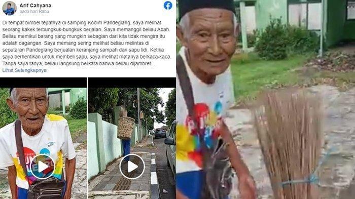 VIRAL Kakek Penjual Sapu Lidi Menahan Tangis, Uang Rp 400 Ribu untuk Setoran Hilang Dicopet