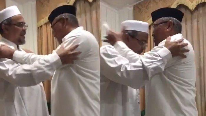Capture Foto mirip Habib Rizieq Shihab berpelukan dengan sosok mirip calon wali kota Depok Mumammad Idris. Pertemuan disebut-sebut Kamis (12/11) sedang Idris dinyatakan positif corona Rabu (25/11/2020)