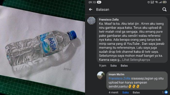 VIRAL Seniman Gambar Aqua Mirip Aslinya, Klarifikasi Redraw & Dihubungi Pihak Produsen Air Mineral