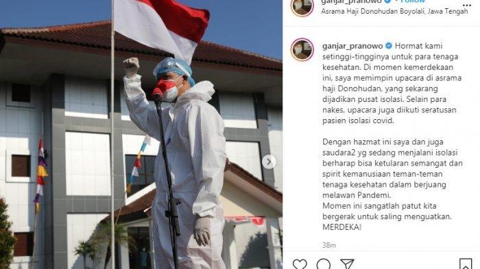 Ganjar Pranowo pakai hazmat pimpin upacara HUT ke-76 RI.