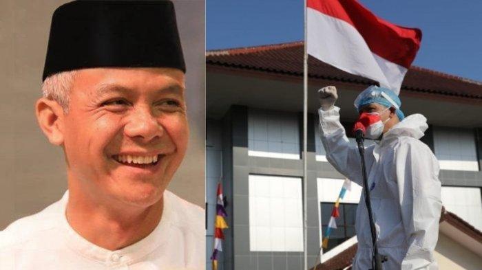 PENAMPILAN Ganjar Pranowo Pimpin Upacara HUT ke-76 RI Disorot, Pakai Hazmat Lengkap, Banjir Pujian