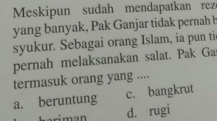 Soal Agama SD Viral Sebut Ganjar 'Tak Bersyukur & Tak Salat', Alasan Penerbit, Gubernur Jateng Kaget