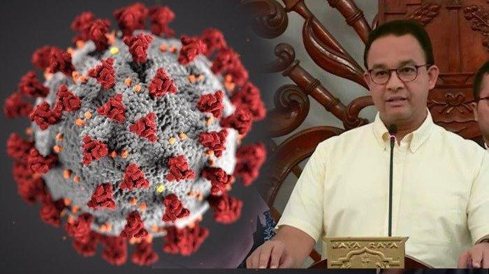 Gubernur Jakarta Anies Baswedan dan ilustrasi virus corona