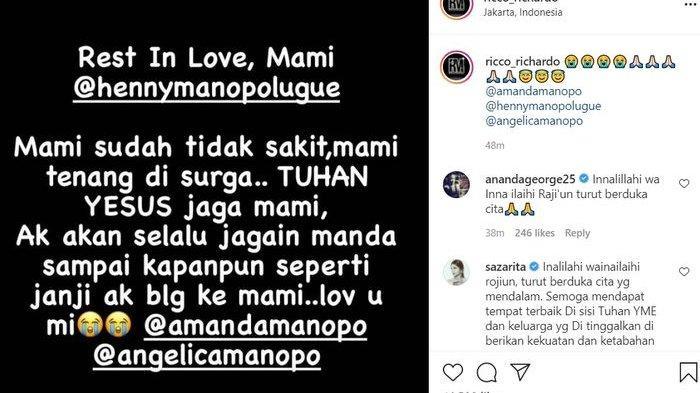 Ibunda Amanda Manopo meninggal dunia