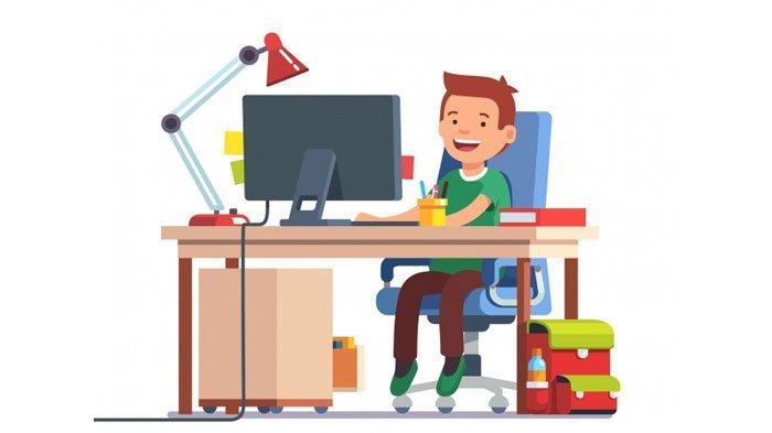 Ilustrasi siswa SD tengah belajar menggunakan komputer